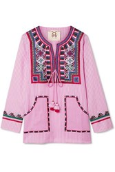 Figue Lily Tasseled Embroidered Striped Voile Top Baby Pink