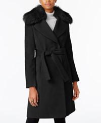 T Tahari Faux Fur Collar Wrap Coat Black