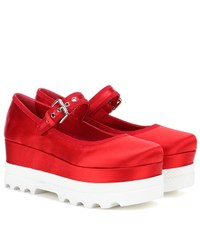 Miu Miu Satin Platform Shoes Red