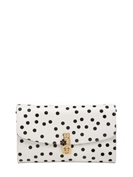 Dolce And Gabbana Polka Dot Dauphine Leather Clutch