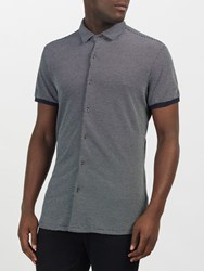 Scotch And Soda Micro Check Short Sleeve Pique Shirt Combo A Navy