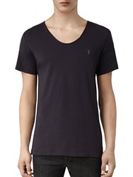 Allsaints Slim Fit Tonic Scoop Low Neck T Shirt Ink Navy