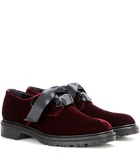 Saint Laurent Velvet Derby Shoes Red