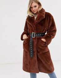 Neon Rose Oversized Faux Fur Coat With Belt Brown