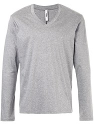 Attachment V Neck Longsleeved T Shirt Cotton Grey