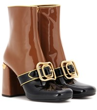 Prada Embellished Patent Leather Ankle Boots Brown