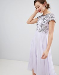 Frock And Frill Capped Sleeve Midi Dress With Embellished Detail Purple