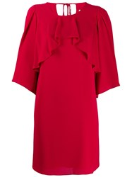 Halston Heritage Chiffon Overlay Shift Dress Red