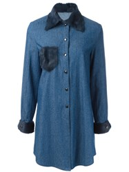 Liska Fur Trim Shirt Dress Blue