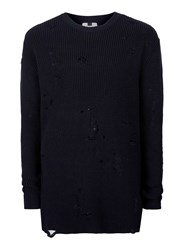 Topman Blue Navy Ripped Military Style Slim Fit Sweater