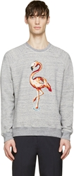 Marc Jacobs Grey Melange Sequin Flamingo Sweatshirt