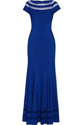 Mikael Aghal Tulle Trimmed Ponte Gown Bright Blue
