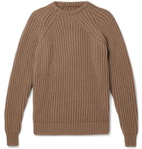 De Bonne Facture Ribbed Wool Sweater Light Brown