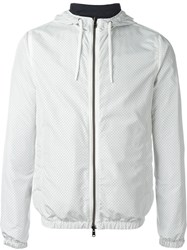 Herno Perforated Reversible Zip Up Hooded Coat White