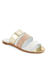 Rachel Zoe Colorblock Strappy Slide Sandals White