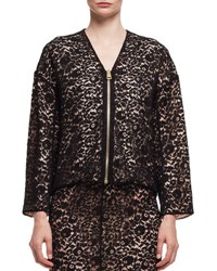 Lanvin Lace V Neck Zip Front Jacket Black Noir