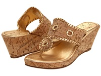 Jack Rogers Marbella Mid Height Espadrille Natural Cork Gold Women's Wedge Shoes