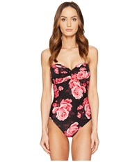Kate Spade Sugar Beach 63 Twist One Piece Swimsuit W Soft Cups And Removable Halter Straps Black Women's Swimsuits One Piece