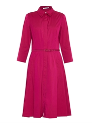 Oscar De La Renta A Line Stretch Cotton Shirt Dress