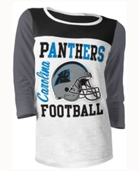 5Th And Ocean Women's Carolina Panthers Three Quarter Glitter T Shirt Blue