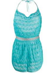 Missoni Mare Embroidered Fitted Playsuit Blue