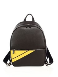 Salvatore Ferragamo Textured Calfskin Leather Backpack Piombo