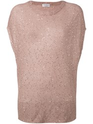 Brunello Cucinelli Sequin Knitted Top Pink Purple