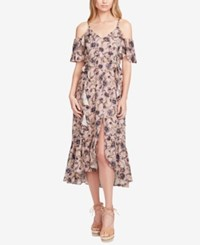Jessica Simpson Juniors' Yasmin Printed Cold Shoulder Midi Dress Dotted Beauty