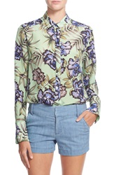 Alice Olivia 'Aravi' Floral Print Button Down Silk Shirt Oasis Floral Mint
