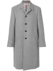 Thom Browne Relaxed Bal Collar Overcoat Shell In Double Face Melton Wool Grey