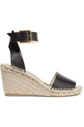 Soludos Leather Espadrille Wedge Sandals Black