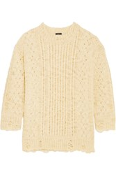 R 13 R13 Oversized Distressed Cable Knit Wool Sweater Cream