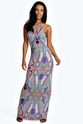 Boohoo Keyhole Paisley Maxi Dress Multi
