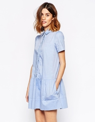 Vanessa Bruno Athe Coralie Shirt Dress With Braided Placket Blue