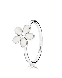 Pandora Design Pandora Ring Sterling Silver And Enamel Darling Daisy Silver White