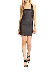 Madison Marcus Speculate Snake Print Faux Leather Dress Black