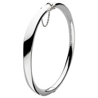 Kit Heath Bevel Curved Hinged Bangle Silver