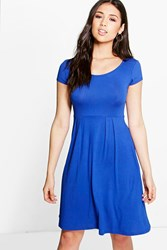 Boohoo Jersey Cap Sleeve Skater Dress Cobalt