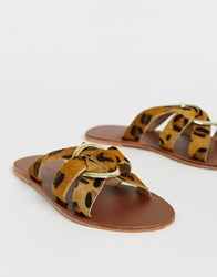 Warehouse Leather Sandals With Ring Detail In Leopard Print Multi
