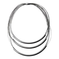 Adele Marie 3 Row Magnetic Clasp Layered Necklace Silver
