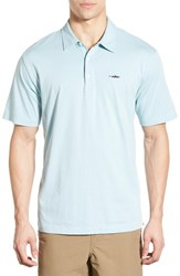 Men's Patagonia 'Trout Fitz Roy' Organic Cotton Polo Tubular Blue