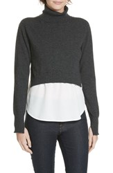 Brochu Walker Luna Mixed Media Layered Wool Cashmere Sweater Valise Mel W White