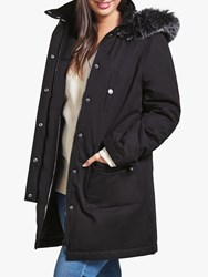 Four Seasons Caban Faux Fur Trim Coat Black
