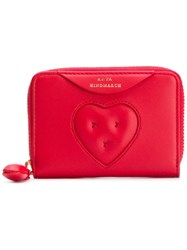 Anya Hindmarch Small Chubby Heart Zip Around Wallet Red