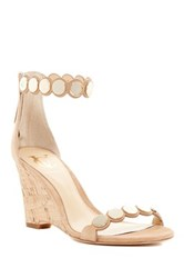 Vc Signature Elodie Scalloped Wedge Sandal Beige