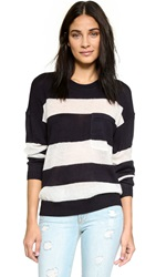 Maison Scotch Striped Mixed Knit Pullover Black White