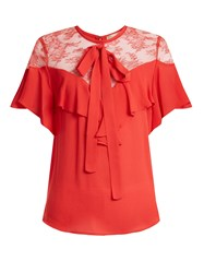 Elie Saab Round Neck Ruffle Silk Blend Top Coral