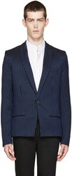 Haider Ackermann Black And Blue Striped Blazer