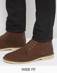 Asos Wide Fit Desert Boots In Brown Suede With Leather Detail Brown