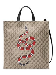 Gucci Kingsnake Print Soft Gg Supreme Tote Unisex Cotton Leather Canvas Nude Neutrals